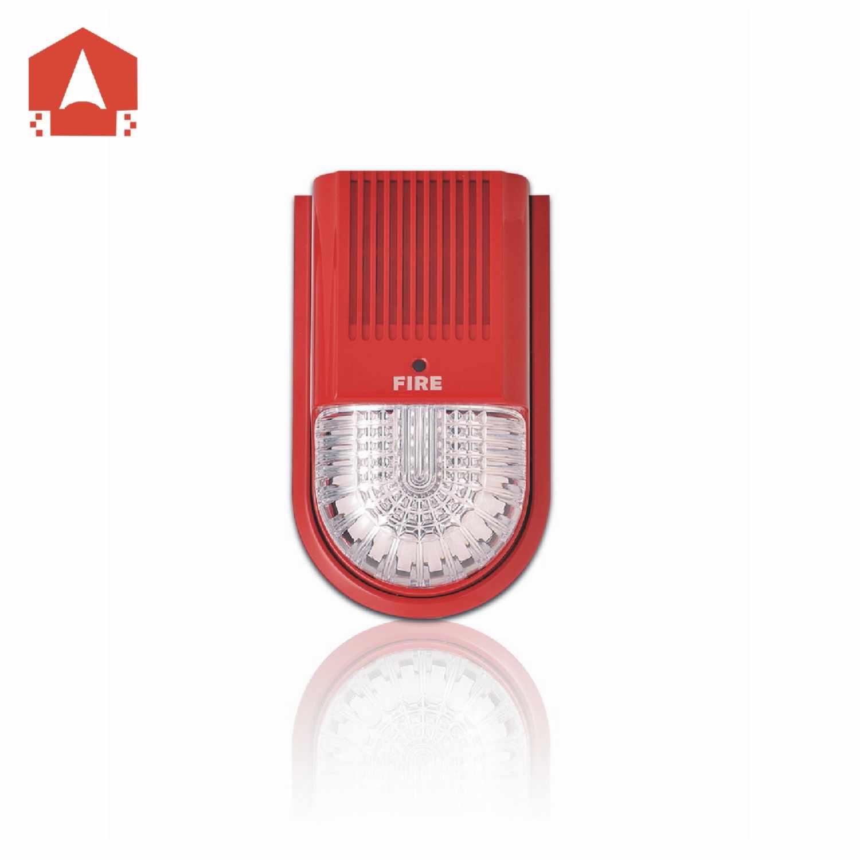 产品概述 CFT-991是一款由我公司生产的与总线型火灾报警控制器配套使用的可寻址声光报警器。报警器由微处理器控制,可以实现与总线型火灾报警控制器之间实时通信并接收由控制器发送来的控制指令。当路由检查时,红色的指示灯会闪烁。事故发生时,报警器收到由总线火灾报警控制器发送来的启动命令后开始工作。红色的指示灯将会保持常亮,报警器同时发出声光报警信号,通知现场的人们附近已经发生火灾事故,必须马上采取相关疏散措施,从而防止火灾事故加剧。报警器可以通过总线火灾报警控制器上的静音或复位按钮恢复到监测状态。报警器可以发